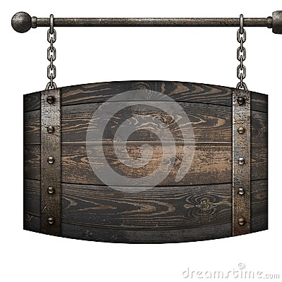 Free Wooden Barrel Medieval Signboard Hanging On Chains Isolated 3d Illustration Stock Photography - 109620712