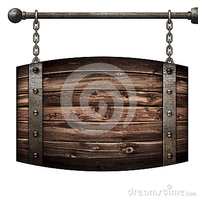 Free Wooden Barrel Medieval Signboard Hanging On Chains Isolated 3d Illustration Stock Image - 89453571