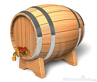 Wooden barrel with valve