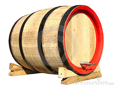 Wooden barrel for wine isolated