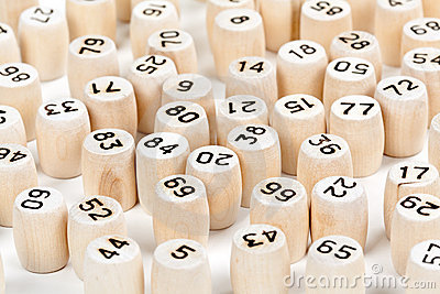 Wooden barrels with lotto numbers