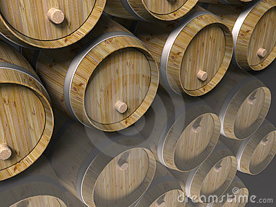 Wooden barrels and reflection