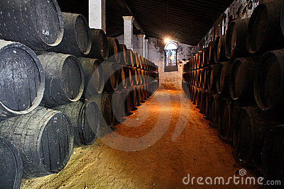 Wooden barrels of sherry