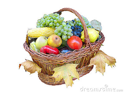 Wooden basket with autumn harvest fruit vegetables