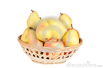 Wooden basket full of fruits