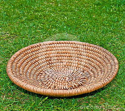 Wooden Basket on grass