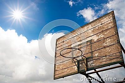 Wooden basket hoop and sunrise