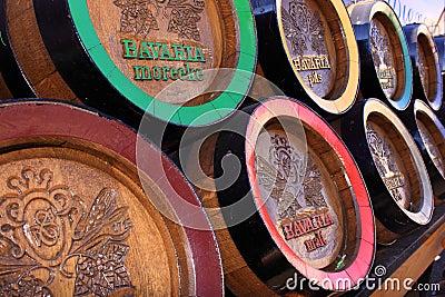 Wooden bavaria beer barrels Editorial Photo
