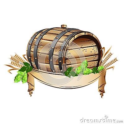 Wooden beer barrel and mug of beer Vector Illustration