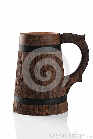 Wooden beer mug isolated on a white background.