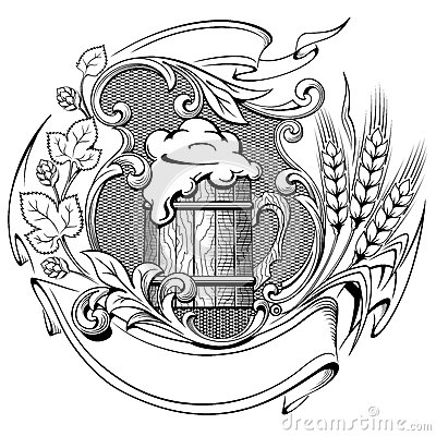 Stock Illustration Wooden Beer Mug Wreath Hops Ears Wheat Ancient Engraving Vector Illustration Image59253878 on french vector graphics