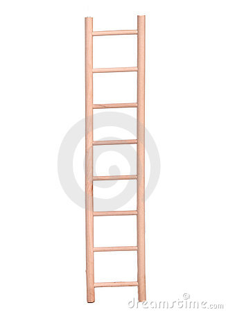 Wooden beige ladder isolated