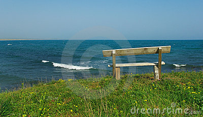 wooden bench by the beach