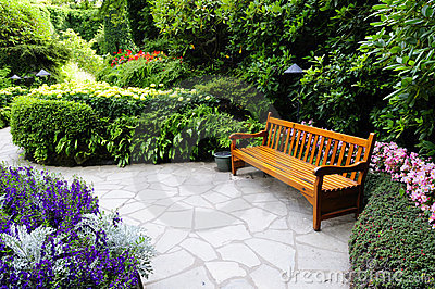 Wooden bench in Butchart Garden
