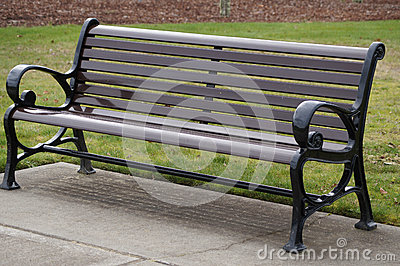 Wooden bench in park