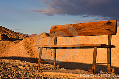 Wooden Bench in Desert