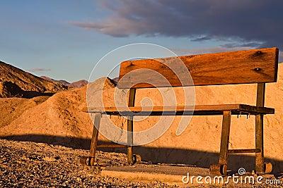 Wooden Bench in Desert