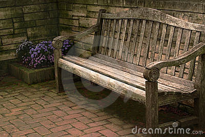 Wooden Bench and Flowers