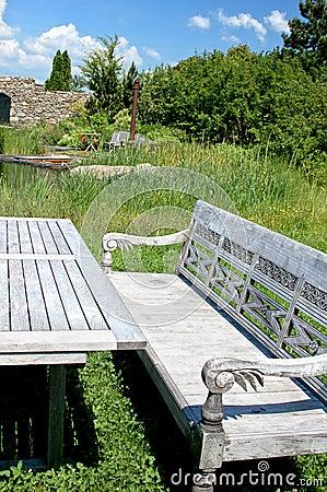 Wooden Bench in a Garden