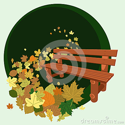 Wooden bench and leaves
