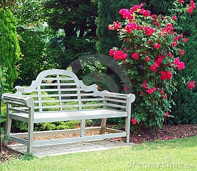 Wooden Bench And Red Roses Royalty Free Stock Image - Image: 412866