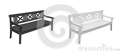 Wooden bench. Set