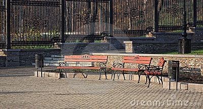 Wooden benches in a city park