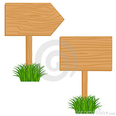 Wooden billboard in grass