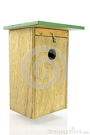 Wooden bird house side front view