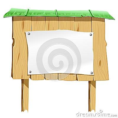 Wooden blank board with blank paper sheet