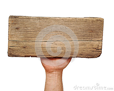 Wooden board sign on hand