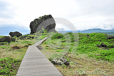 Wooden board walk at San Xian Tai isle in Taiwan
