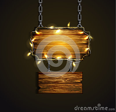 Wooden boards with lights Vector Illustration