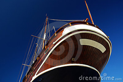 Wooden boat against the sky.