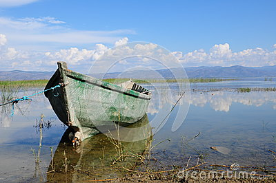 Wooden boat on lake (sea)