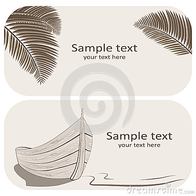 Wooden boat and palm leaves business cards set on beige