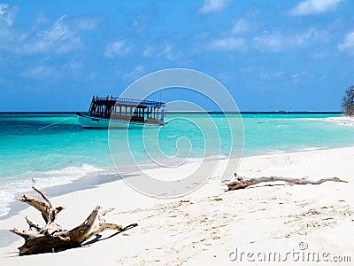 Wooden boat on the sea, Maldives