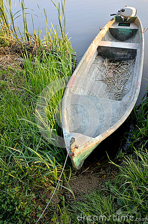 Wooden boat on shore