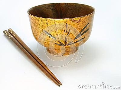 Wooden bowl and chopsticks