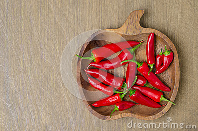 Wooden bowl with red chili peppers (and space for text)