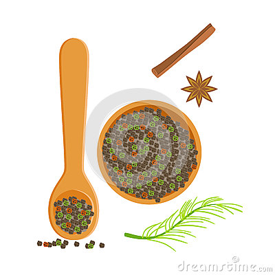 Wooden bowl and spoon of peppercorns, herbs and spices selection. Colorful cartoon illustration Vector Illustration