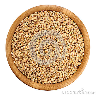 Free Wooden Bowl With Pearl Barley Isolated On White Background. Royalty Free Stock Images - 72336899
