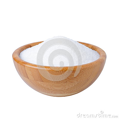 Free Wooden Bowl With Sugar Isolated On White Stock Photography - 95105162