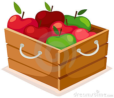 Wooden box of apples