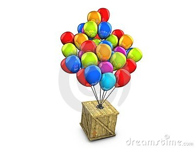 Wooden box balloon delivery