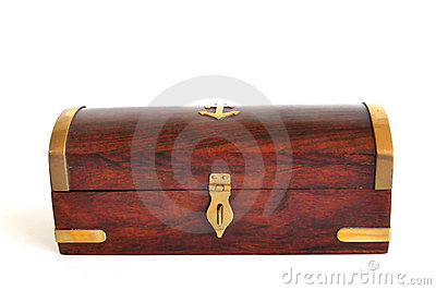 Wooden box with brass trim isolated on white