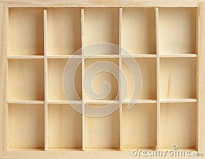 Wooden box on fifteen cells