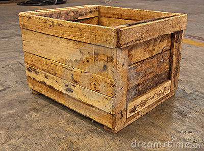 Wooden box on floor from side