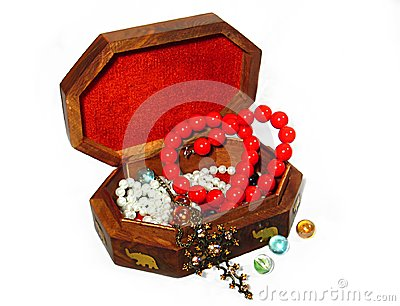 Wooden box with jewelry