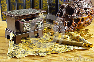 Wooden box with key and skull